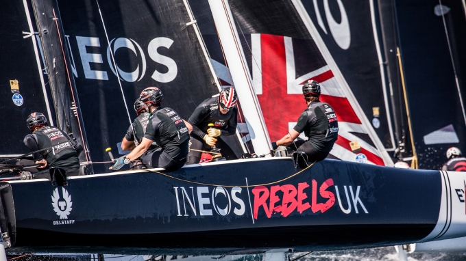 Extreme Sailing Series GC32, Barcelona, Spain. INEOS REBELS UK,  Race day 3. June 16